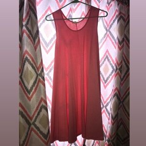 Red and white striped tank top dress